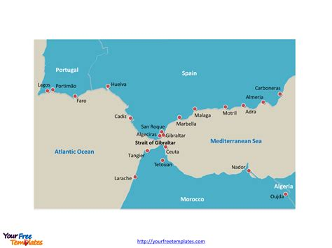 Free Strait of Gibraltar Editable Map - Free PowerPoint
