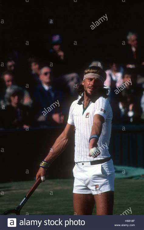 Bjorn Borg serving at Wimbledon, 1980, the year he won his
